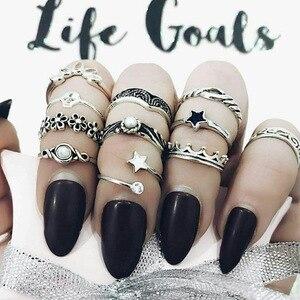 Кольцо в стиле бохо WLP, кольцо в стиле ретро со слоном, луной, звездой, черепом, стрелой средней длины для свадьбы, помолвки, подарок для женщи...