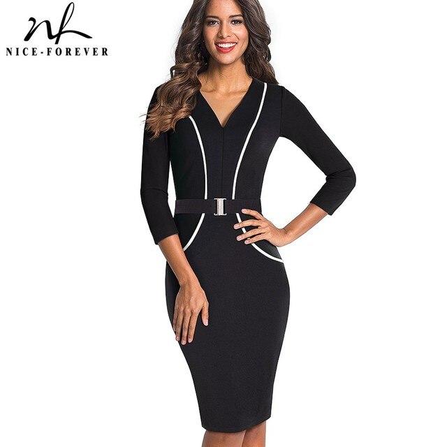 Nice-forever Elegant 3 4 Sleeve Solid Color Patchwork V Neck With Belt  vestidos e9f305529206