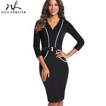 Nice-forever Elegant 3/4 Sleeve Solid Color Patchwork V Neck With Belt vestidos Business Work Bodycon Women Sheath Dress B414