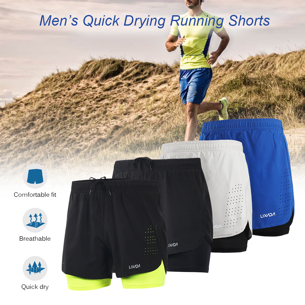 aa5db72ab6c Lixada Mens Sports Running Shorts Quick Drying Breathable Active Training  Exercise Jogging Cycling 2 in 1 with Longer Liner-in Running Shorts from  Sports ...