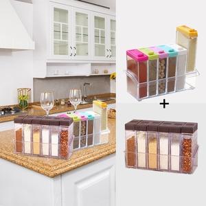 Image 3 - 2pcs/set Plastic Spice Bottles Jars Seasoning Organizer Box Condiment Layers Kitchen Storage Boxes Home Organization Accessories