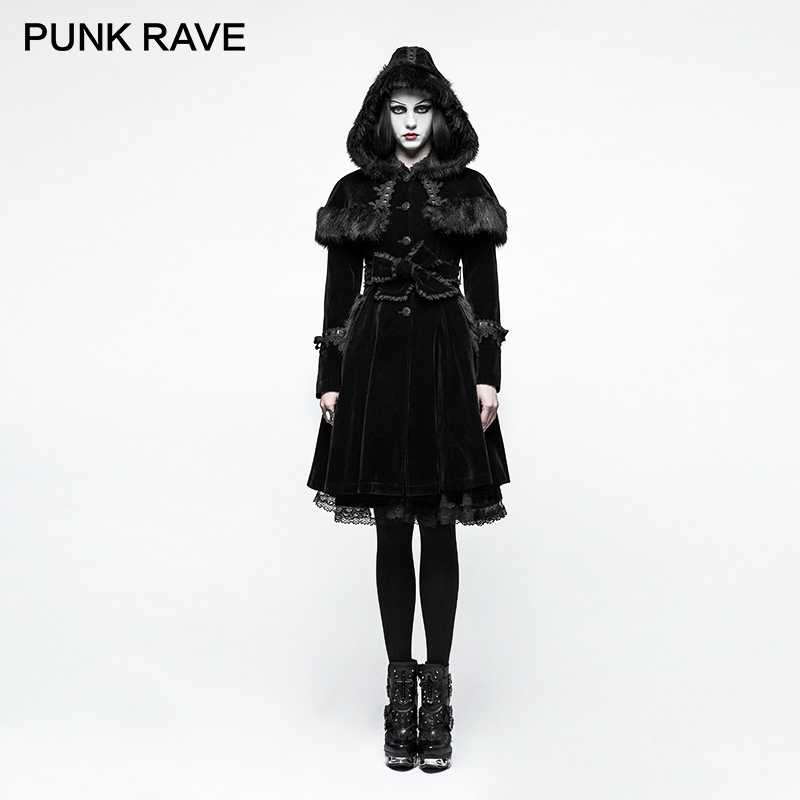 PUNK RAVE Lolita Winter Hooded Rabbit Fur Coat Long Women Coats Large Lapels Cuffs Wool Worsted Jackets College Style Blends