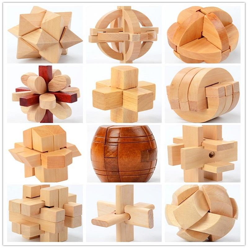 China Classic 3D Wooden Puzzle Lock Toys Cube Game Model Kit Design Brain Teaser Educational Toys For Adults Children