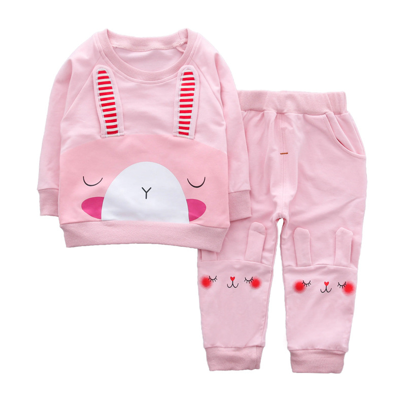 Todder girls sets 2018 spring new Rabbit style long ears sweatershirt tops casual cotton pants 2 pcs clothing set baby 0-4 year