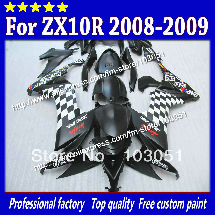 High grade for Kawasaki ZX10R fairings 2008 ninja ZX 10R fairing 2009 ZX-10R 08 09 white in flat black SM36