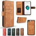 Estojo de couro de luxo retro para iphone 7 marca de luxo carteira destacável slot para cartão para o iphone 7 plus flip magnético para as mulheres das senhoras