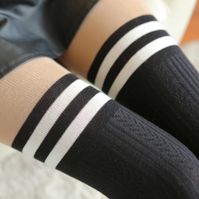 Moda estilo preppy patchwork tarja longo-etapa outono e inverno espessamento básica gaotong de cano over-the-knee