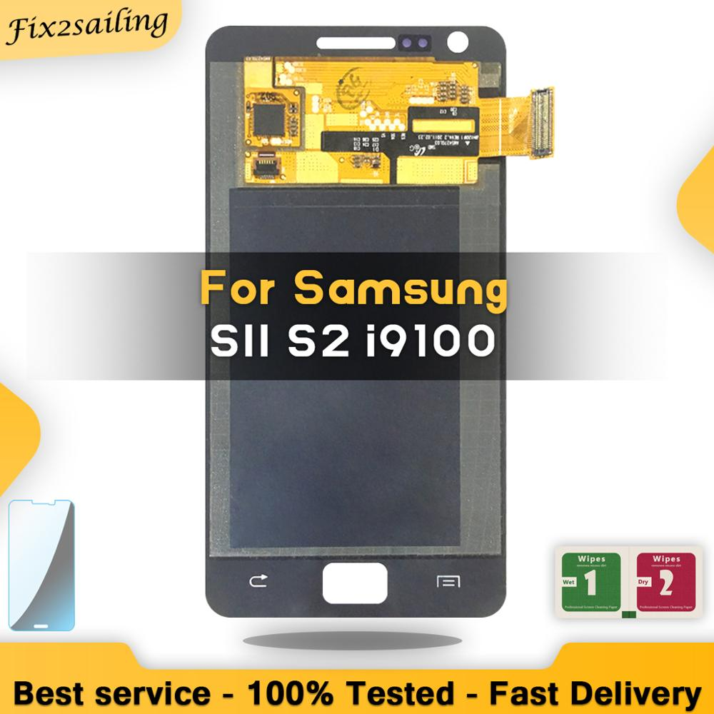 Super AMOLED LCD For Samsung Galaxy SII S2 I9100 Display Touch Screen Digitizer Assembly Replacement Free Shipping