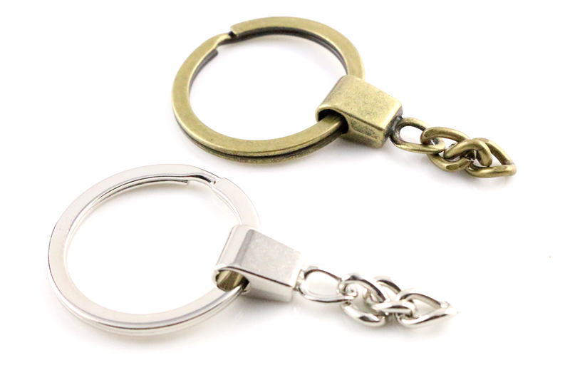 10pcs/lot Key Ring ( Ring Size: 30mm ) Key Chain Rhodium And Bronze Plated 50mm Long Round Split Keychain Keyrings Wholesale