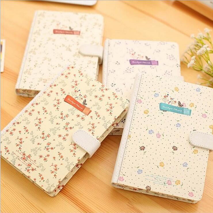 Beautiful Flower Journal Diary Hard Cover Lined Papers Cute Planner School Study Notebook Agenda Notepad diary with lock cagie cute diary cloth cover a7 mini notebook lined pages paper notebooks personal journal beautiful notepad