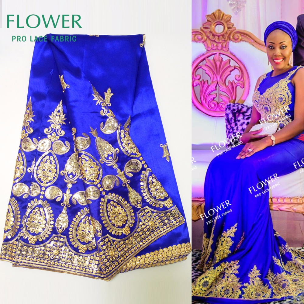African George Fabric High Quality Nigerian George Lace Fabric Royal Blue African Swiss Lace Fabric For