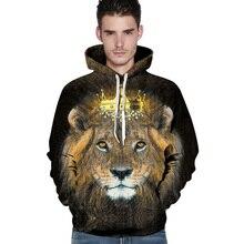 2017 neuheit männer hoodies 3D print lion crown tier paare sweatshirt lässige harajuku hoodie kühle pullover
