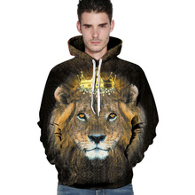 2016 Novelty men's hoodies 3D print lion king animal sweatshirt casual hip hop pullover couples hoodie cool tracksuit