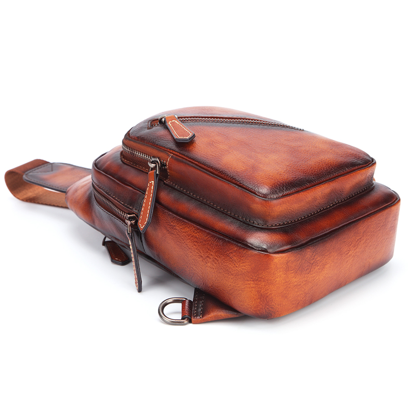 Men 's Cowhide F Chest Bags Genuine Leather Single Shoulder Pack High Quality Cross Body Bag For Man - 4
