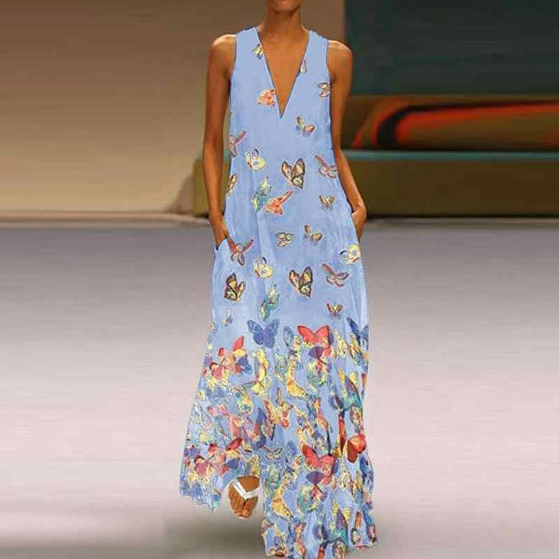 6f3288c0d5ddd WENYUJH 5XL Butterfly Long Dress Women Torridity Loose Pocket Beach Maxi  Dress Bohemian Sexy V Neck Dress Plus Size