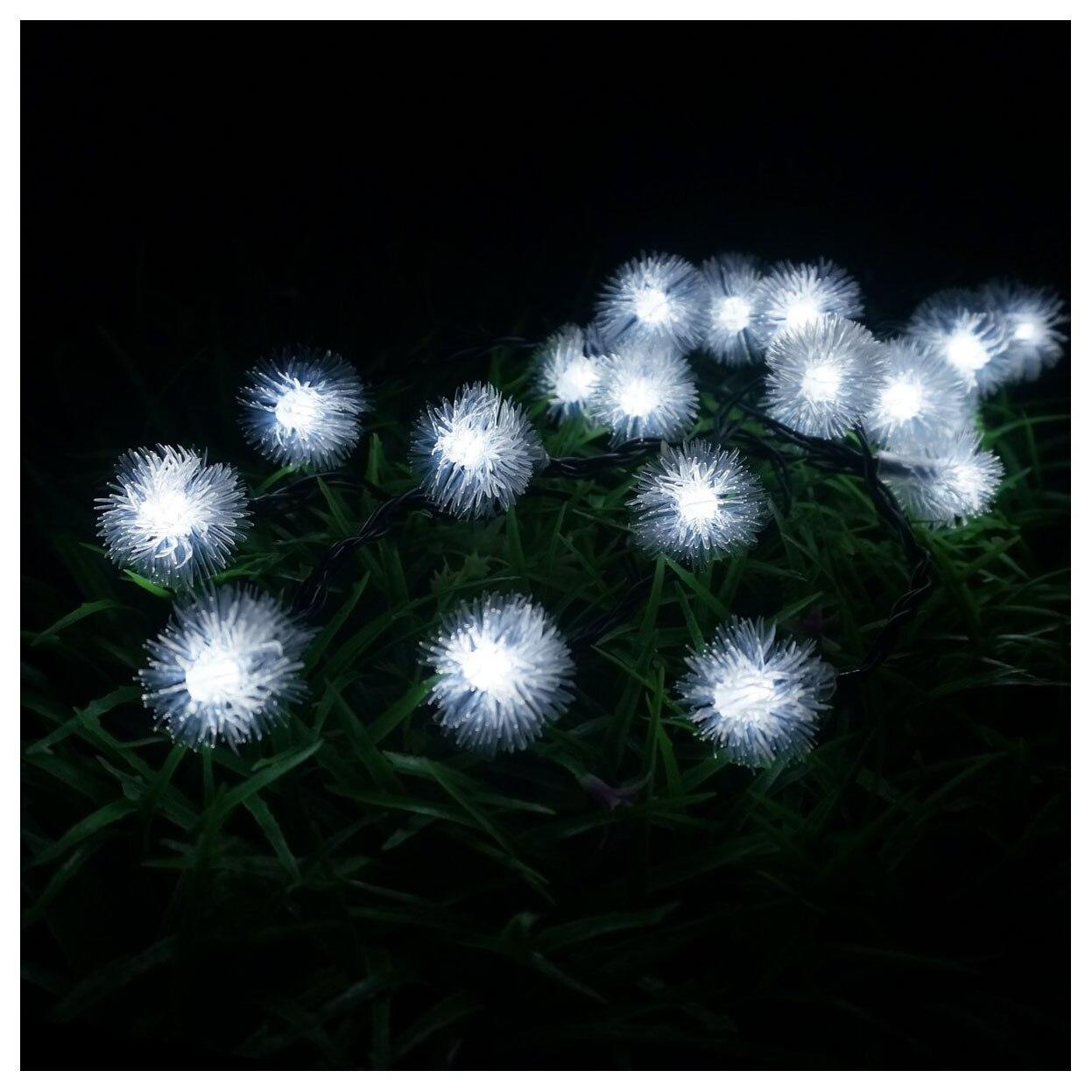 LED 4.8 м 20 LED Солнечный Открытый Строка сказочных огней снежок солнечные для внешних патио партии Рождество белый цвет