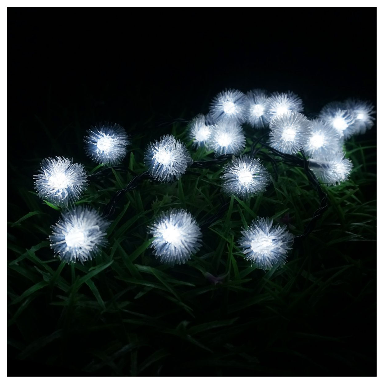LED 4.8m 20 LED Solar Outdoor String Fairy Lights Snowball Solar Powered  for Outside Garden Patio Party Christmas white Color