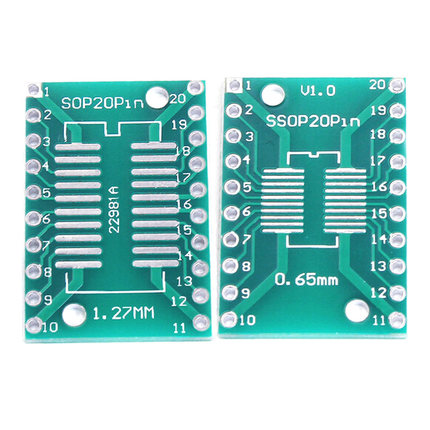 10pcs/lot TSSOP20 SSOP20 SOP20 To DIP20 PCB Transfer Board DIP Pin Board Pitch Adapter In Stock