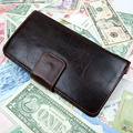 Brand Vintage Oil Wax Genuine Leather Men Clutch Wallet Money Purse 16 Card Holder Photo Zipper Coins Pocket Pack Bags