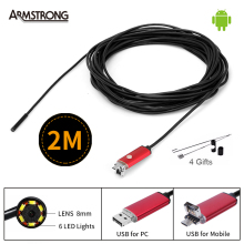 New 2In1 Endoscope 8mm USB Android Camera 2M Cable Snake Tube Waterproof Mini USB Android Borescope Inspection OTG Phone Camera