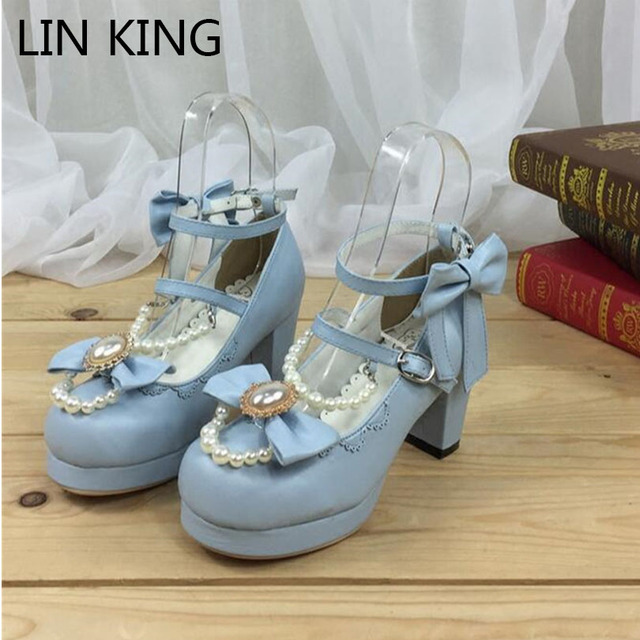 fccf22be2f LIN KING Fashion Ankle Strap Women Pumps Retro Bowtie Lolita Shoes Sweet  Buckle Pearl Platform Shoes Girl Cosplay Party Shoes