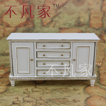 Dollhouse 1/12 scale miniature furniture well Handmade White gold cabinet 1 12 scale fine dollhouse miniature furniture white cabinet