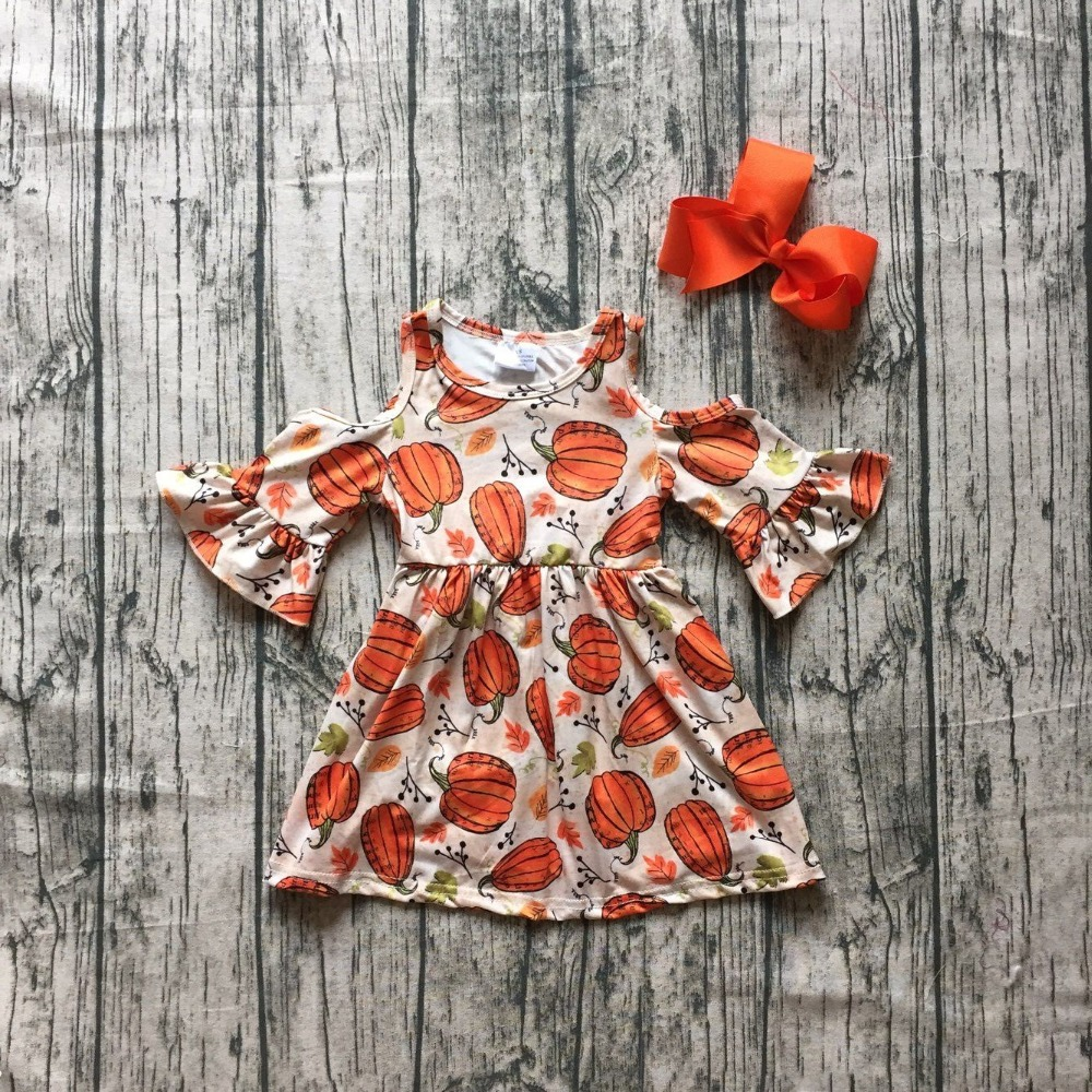 Halloween Fall/winter cotton milk silk baby girls off shoulder boutique children clothes cotton dress pumpkin ruffles match bow christmas baby girls children clothes off shoulder boutique cotton it s cold outside outfits plaid snowflake match accessories