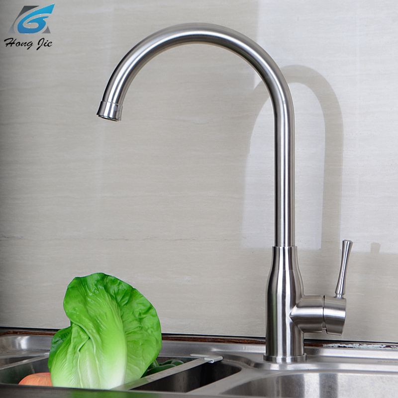 Kitchen Faucet Stainless Steel Hot And Cold Mixer Water Tap Deck Mounted Rotate Basin Sinks Tap Bathroom Faucets sus304 stainless steel dish basin faucet water tap ceramic disc cartridge single hot cool water mixer rotable unleaded faucet