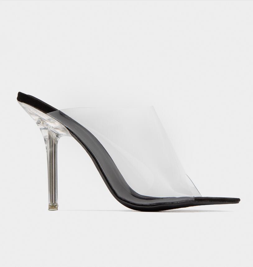 Moda Peep Toe Sandálias de Salto Alto Mulheres Limpar Transparente PVC Cristal Sandálias Deslizamento Em Sapatas de Vestido de Verão - 5