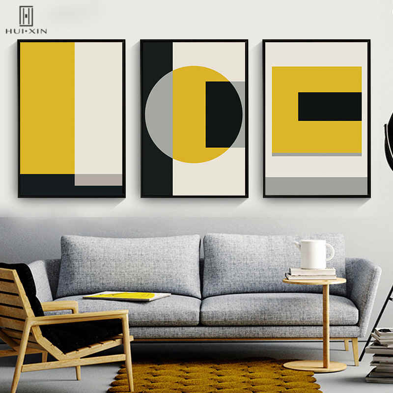 Black Yellow Main Colors Geometric Shape Rectangle Abstract
