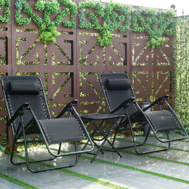 3PC Outdoor Zero Gravity Reclining Lounge Chairs w/ Table 1