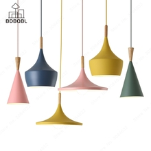 где купить BDBQBL Modern Metal LED Pendant Lights Blue/Green/Pink/Yellow Aluminum Loft Hanging Lamp Bedroom Restaurant E27 Ceiling HangLamp по лучшей цене
