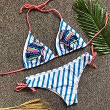 Sexy Women Stripe Bikini Set with Low Waist