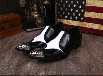 Size 46 men shoes formal leather Black and white color oxford  shoes for men office party fashion men's dress shoes