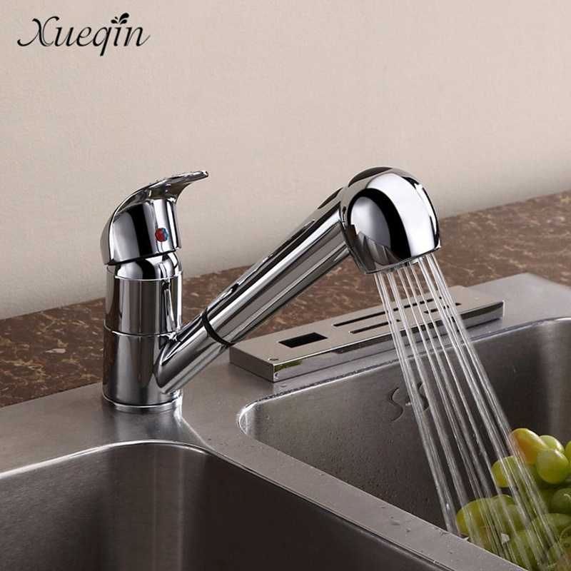 Xueqin Free Shipping G1/2 Pull Out Spray Kitchen Sink Basin Water Faucet Taps Bathroom Chrome Finished Mixer Tap Faucet xueqin free shipping unique design chrome finished kitchen basin sink water faucet mixer tap single handle cold bathroom faucet