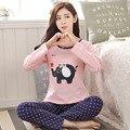 2016 Nova Moda outono Mulheres Conjuntos de Pijama de Algodão Superior Dot Elefante rosa Sleepwear homewear & Calças de Roupas Em Casa