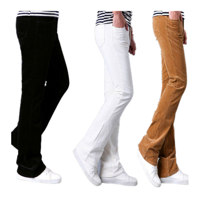 Spring Autumn Mens Flared Trousers Corduroy Boot Cut Trousers Bell Bottom Pants Men Pantalon Homme Black White Red Khaki Purple
