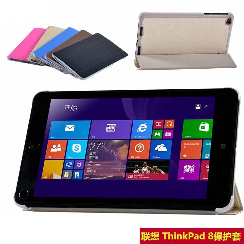 New Luxury Utra Thin Slim Silk Grain 3-Folding Folio Stand PU Leather Case Cover For Lenovo Thinkpad 8 8.3 8.3 inch Tablet 2 folding luxury folio stand leather