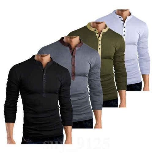 Caldo di Vendita di Autunno della Molla del Mens Slim Fit Con Scollo A V Button Manica Lunga T-Shirt Tee Muscolare Casual Magliette E Camicette Henley Camicette