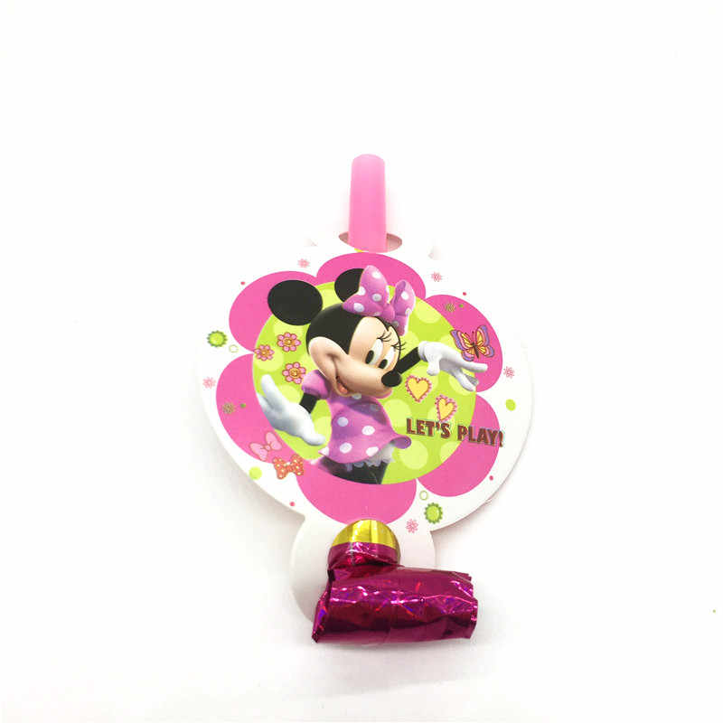 Disney Minnie Mouse 6pcs/lot Festival Blowout Noise Maker Girl Birthday Party Toy Event Party Cartoon Blowing Dragon Supply