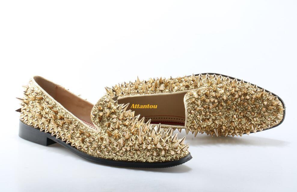 Для мужчин Мокасины Золото Алмаз Стразы шипами Мокасины с заклепками туфли с красной подошвой Свадебная вечеринка мужская обувь