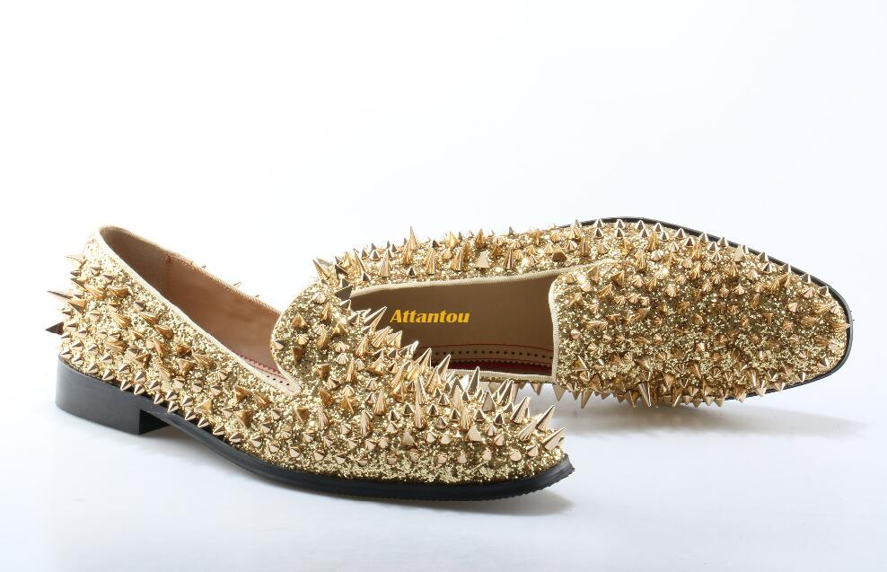 aa755ad1b663 Detail Feedback Questions about Men loafers Gold Diamond Rhinestones Spiked  Loafers Rivets shoes Red Bottom Wedding Party Shoes Male on Aliexpress.com  ...