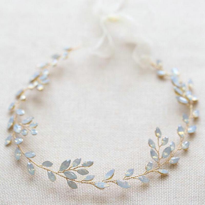 Wedding Headband For Brides Handmade Opal Crystal Vines Bridal Wedding Hair Jewelry