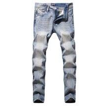 DSEL Бренда Джинсы Мужчин Высокого Качества Прямые Slim Fit Свет синий Разорвал Джинсы Для Мужчин Проблемных Брюки Модельер Мужчины джинсы