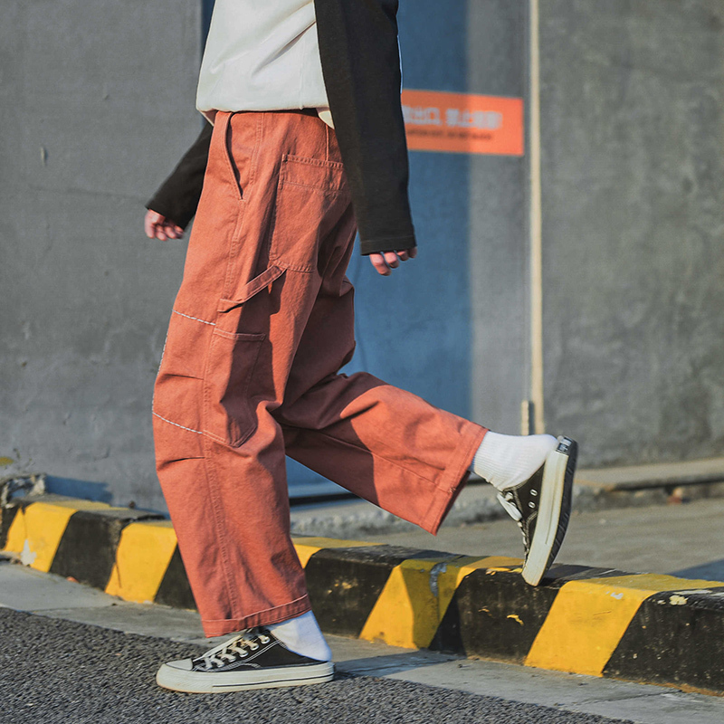 2018 Spring And Summer Mens New Big Pocket Tooling Casual Pants Loose Youth Temperament Joggers Streetwear XXL Orange Green