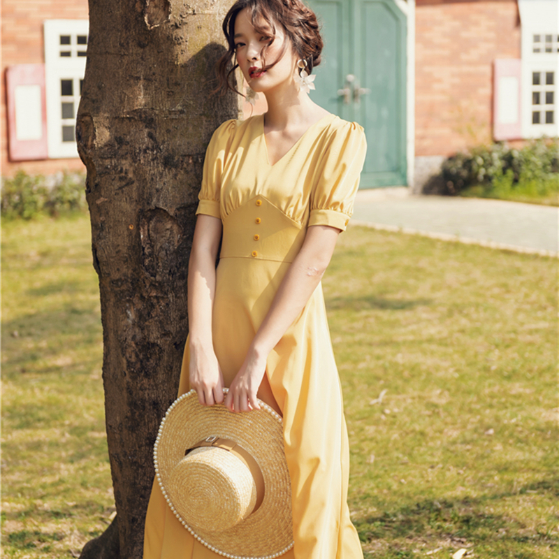 2019 Summer Vintage Elegant Women  French Style Casual Dresses  Female Chic Button Front V-neck Retro Holiday Dress