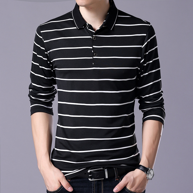 Striped Polo Shirt Men 2019 Spring 95% Cotton Men's Polo Shirt Male Long Sleeve Casual Shirt Mens Turn Down Collar Polos 3XL