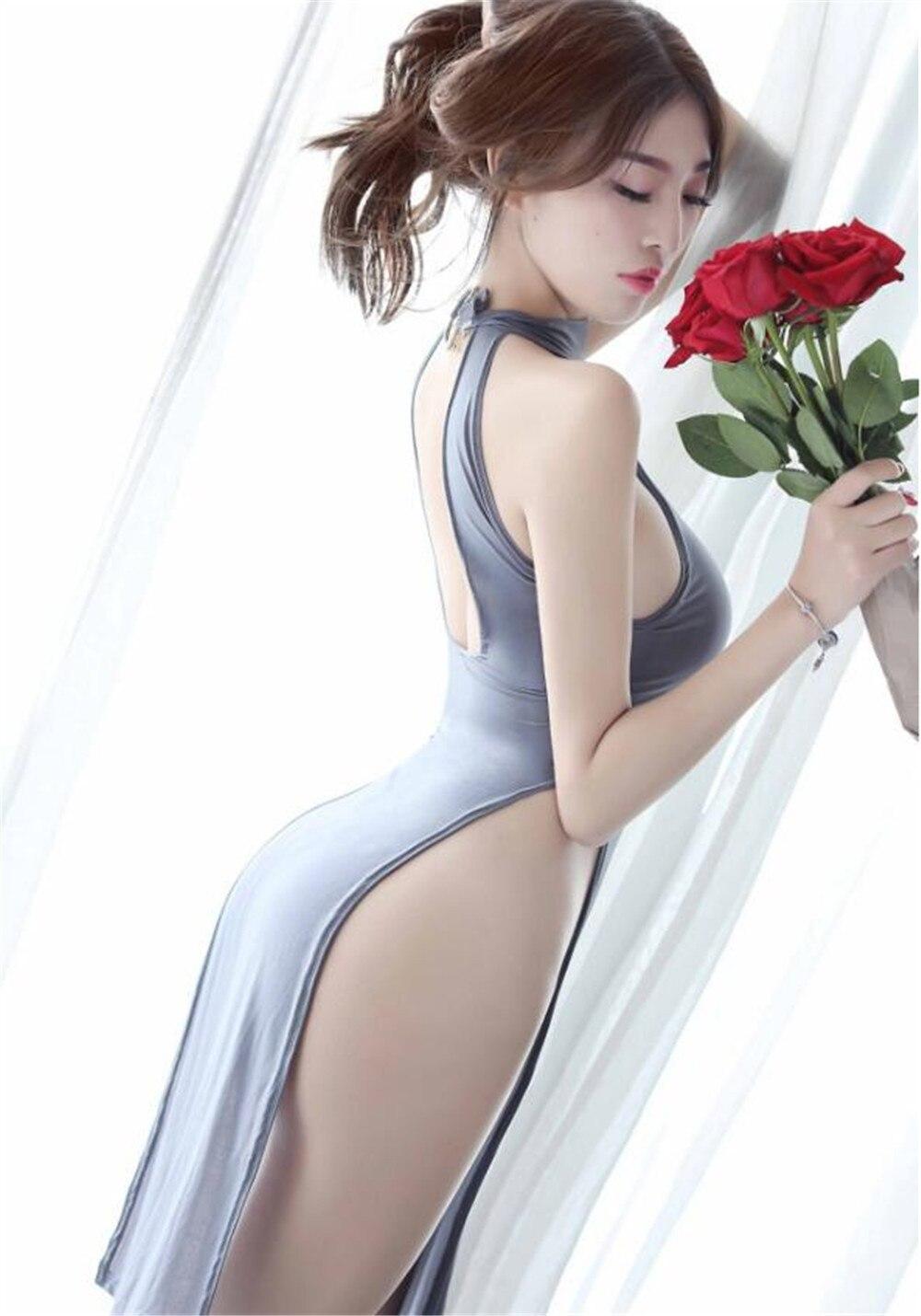 Women Sexy Lingerie Perspective Satin Silky High Split Cheongsam Babydoll