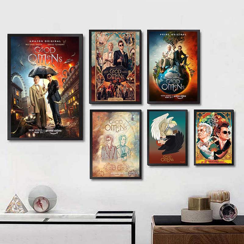 جيد Omens التلفزيون ملصقات جدار ديكور المنزل طباعة عالية الجودة الأبيض المغلفة ورقة المنزل الفن العلامة التجارية هدية