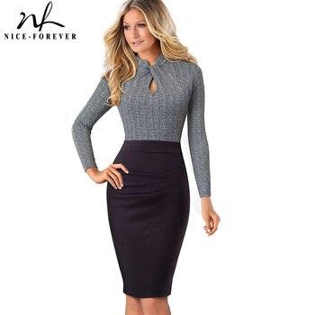 Nice-Selamanya Kerah Vintage Berdiri Dipakai untuk Bekerja Lengan Panjang Patchwork Vestidos Bisnis Pesta Bodycon Wanita Kantor Dress B475